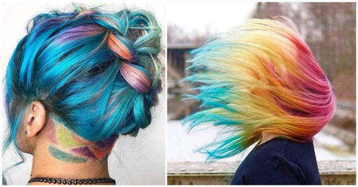 Rainbow Ombre Color- Hair Color Style Trends