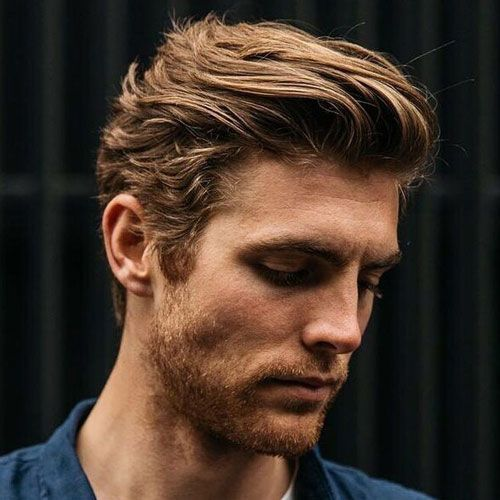 Textured Slick Back with Medium Length Hair Natural hairstyles for men